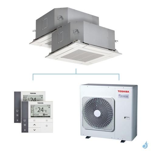 Climatisation bi-split Toshiba Cassette 4-voies 600x600 - 8kW taille 16 + 16 - RAS-M16/16U2MUVG-E + RAS-4M27U2AVG-E