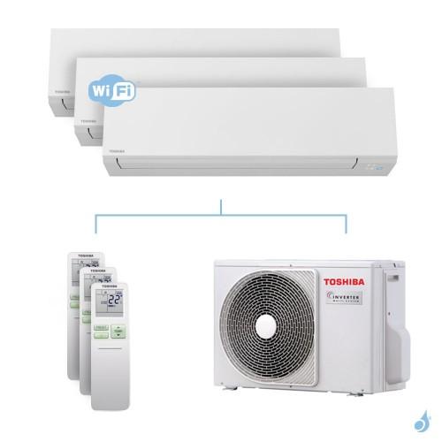 Climatisation tri-split Toshiba Shorai Edge 5.2kW taille 07 + 13 + 13 - RAS-B07/13/13N4KVSG-E + RAS-3M18U2AVG-E