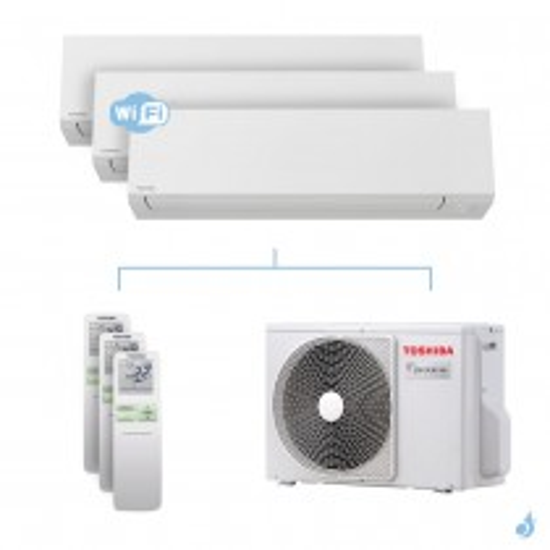 Climatisation tri-split Toshiba Shorai Edge 5.2kW taille 10 + 10 + 10 - RAS-B10/10/10N4KVSG-E + RAS-3M18U2AVG-E