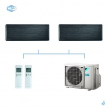 DAIKIN climatisation bi split mural gaz R32 Stylish Blackwood FTXA-AT 5kW WiFi FTXA20AT + FTXA25AT + 2MXM50M9 A+++
