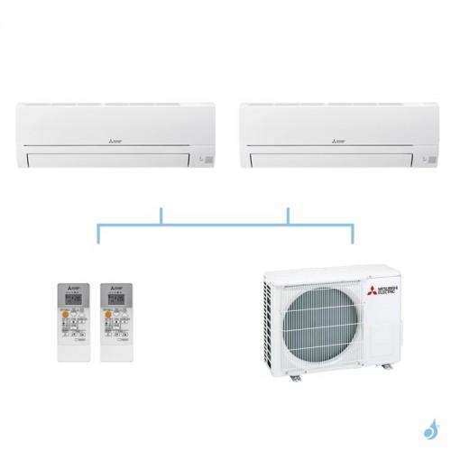 MITSUBISHI climatisation bi split gaz R32 mural essentiel MSZ-HR 5kW MSZ-HR42VF + MSZ-HR42VF + MXZ-3HA50VF A++