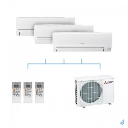 MITSUBISHI climatisation tri split gaz R32 mural essentiel MSZ-HR 5kW MSZ-HR25VF + MSZ-HR25VF + MSZ-HR25VF + MXZ-3HA50VF A++