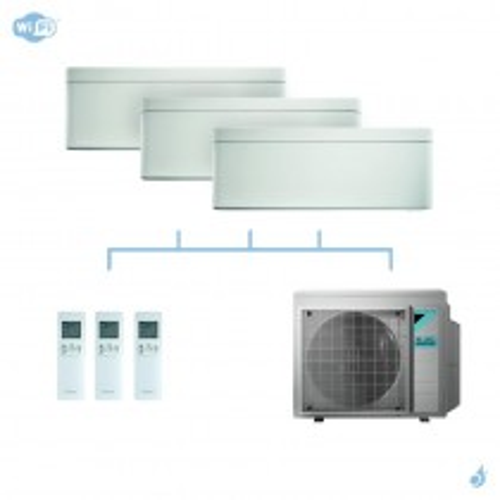 DAIKIN climatisation tri split mural gaz R32 Stylish White 4kW WiFi CTXA15AW + CTXA15AW + FTXA35AW + 3MXM40N A+++