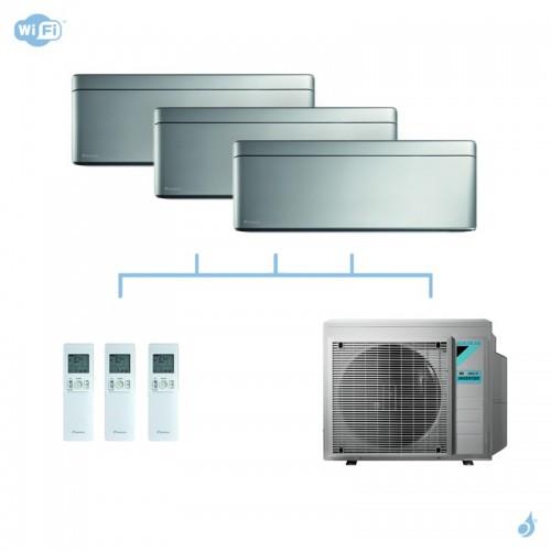 DAIKIN climatisation tri split mural gaz R32 Stylish Silver 4kW WiFi CTXA15AS + FTXA20AS + FTXA25AS + 3MXM40N A+++