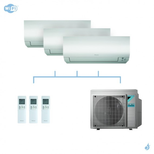 DAIKIN climatisation tri split mural gaz R32 Perfera CTXM-N FTXM-N 6kW WiFi CTXM15N + FTXM42N + FTXM42N + 3MXM68N A++
