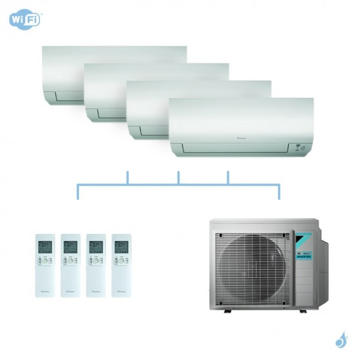 DAIKIN climatisation quadri split mural gaz R32 Perfera 7,4kW WiFi CTXM15N + FTXM20N + FTXM42N + FTXM50N + 4MXM80N A++