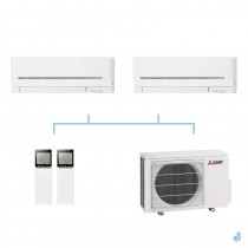 MITSUBISHI climatisation bi split gaz R32 mural compact MSZ-AP 5,3kW MSZ-AP15VF + MSZ-AP42VG + MXZ-2F53VF A+++