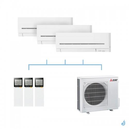 MITSUBISHI climatisation tri split gaz R32 mural compact MSZ-AP 6,8kW MSZ-AP20VF + MSZ-AP20VF + MSZ-AP25VG + MXZ-3F68VF A++