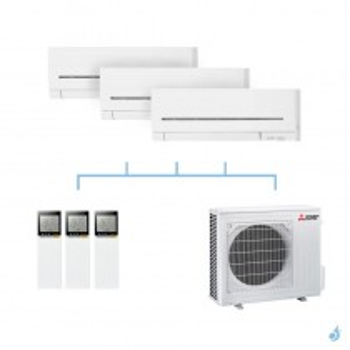 MITSUBISHI climatisation tri split gaz R32 mural compact MSZ-AP 6,8kW MSZ-AP20VF + MSZ-AP20VF + MSZ-AP50VG + MXZ-3F68VF A++