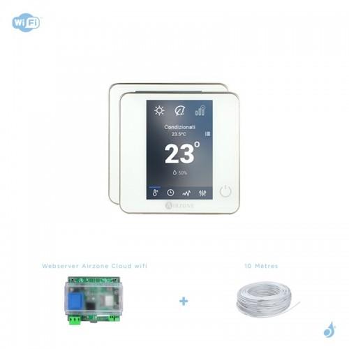 Pack thermostat connecté Airzone Blueface filaire blanc + Web server carte WiFi sans fil