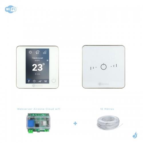 Pack thermostat connecté Airzone Blueface + Lite filaire blanc + Web server carte WiFi sans fil