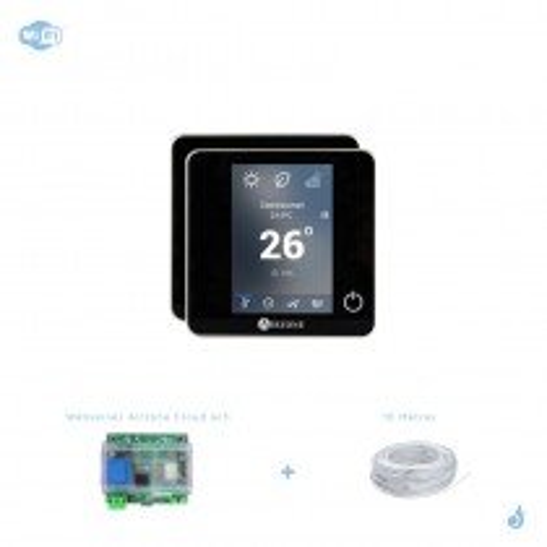 Pack thermostat connecté Airzone Blueface filaire noir + Web server carte WiFi sans fil