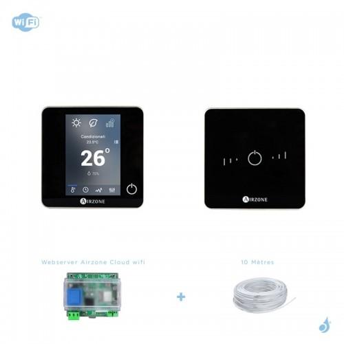 Pack thermostat connecté Airzone Blueface + Lite filaire noir + Web server carte WiFi sans fil