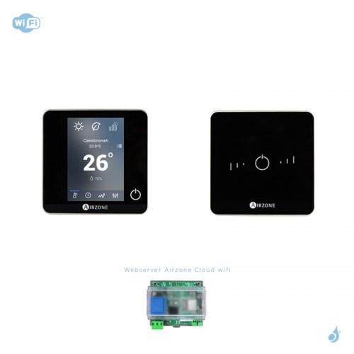 Pack thermostat connecté Airzone Blueface + Lite radio noir + Web server carte WiFi sans fil