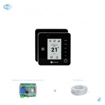Pack thermostat Airzone Think filaire noir connecté + Web server carte WiFi sans fil