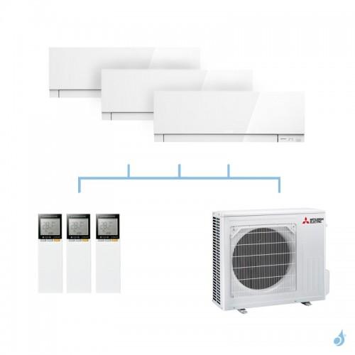 MITSUBISHI climatisation tri split gaz R32 mural Design MSZ-EF 6,8kW MSZ-EF22VG + MSZ-EF25VG + MSZ-EF25VG + MXZ-3F68VF A++