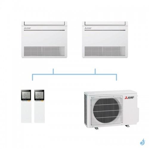 MITSUBISHI climatisation bi split gaz R32 console compacte MFZ-KT 3,3kW MFZ-KT25VG + MFZ-KT25VG + MXZ-2F33VF A++