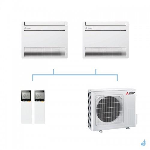 MITSUBISHI climatisation bi split gaz R32 console compacte MFZ-KT 8kW MFZ-KT25VG + MFZ-KT50VG + MXZ-4F80VF A++