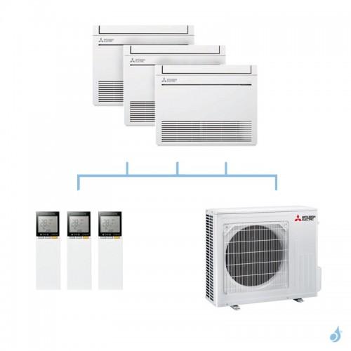 MITSUBISHI climatisation tri split gaz R32 console compacte MFZ-KT 8kW MFZ-KT25VG + MFZ-KT35VG + MFZ-KT35VG + MXZ-4F80VF A++
