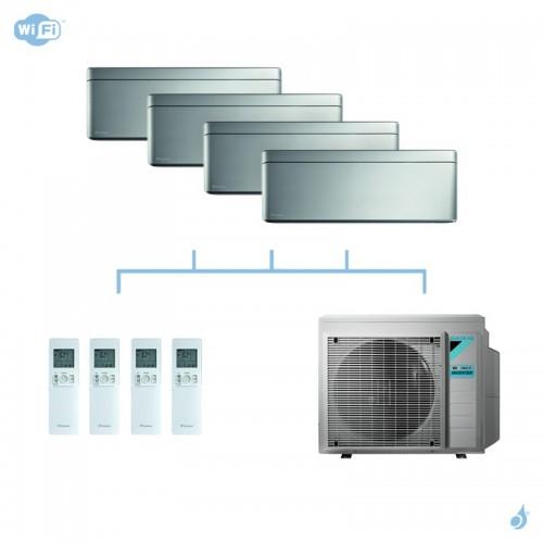 DAIKIN climatisation quadri split mural gaz R32 Stylish Silver 6,8kW WiFi CTXA15AS+FTXA25AS+FTXA25AS+FTXA42AS+4MXM68N A++