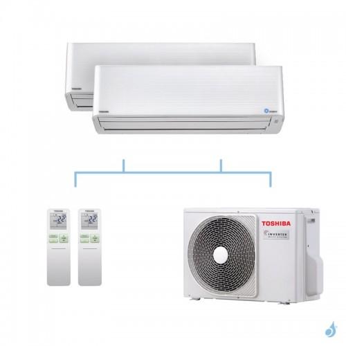 TOSHIBA climatisation bi split mural gaz R32 Super Daiseikai 9 5,2kW RAS-M13PKVPG-E + RAS-M16PKVPG-E + RAS-3M18U2AVG-E A++