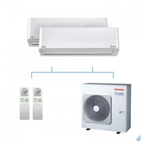 TOSHIBA climatisation bi split mural gaz R32 Super Daiseikai 9 10kW RAS-M10PKVPG-E + RAS-M16PKVPG-E + RAS-5M34U2AVG-E A++
