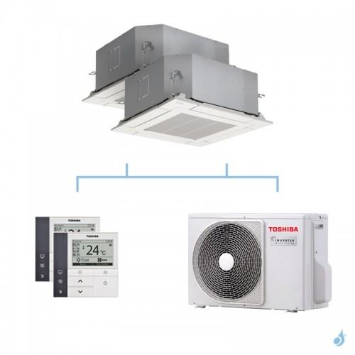 TOSHIBA climatisation bi split cassette 4 voies gaz R32 4kW RAS-M10U2MUVG-E + RAS-M10U2MUVG-E + RAS-2M14U2AVG-E A++