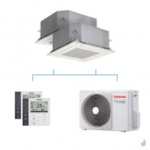 TOSHIBA climatisation bi split cassette 4 voies gaz R32 5,2kW RAS-M16U2MUVG-E + RAS-M16U2MUVG-E + RAS-2M18U2AVG-E A++