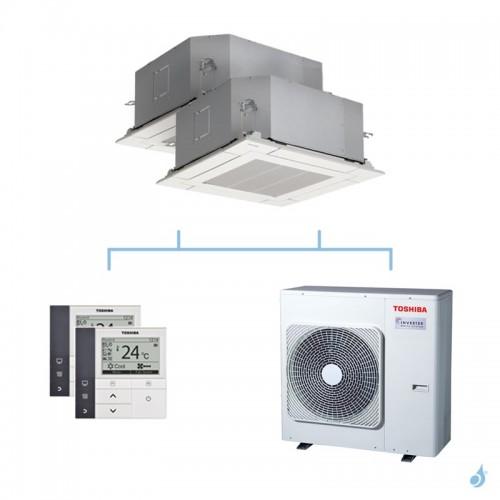 TOSHIBA climatisation bi split cassette 4 voies gaz R32 10kW RAS-M10U2MUVG-E + RAS-M10U2MUVG-E + RAS-5M34U2AVG-E A++
