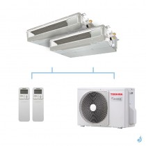 TOSHIBA climatisation bi split gainable compact gaz R32 3,3kW RAS-M10U2DVG-E + RAS-M10U2DVG-E + RAS-2M10U2AVG-E A++