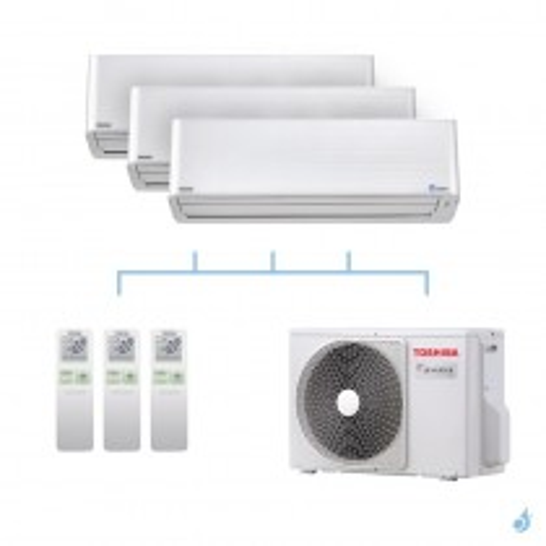TOSHIBA climatisation tri split mural gaz R32 Super Daiseikai 9 5,2kW RAS-M10PKVPG-E x3 + RAS-3M18U2AVG-E A++