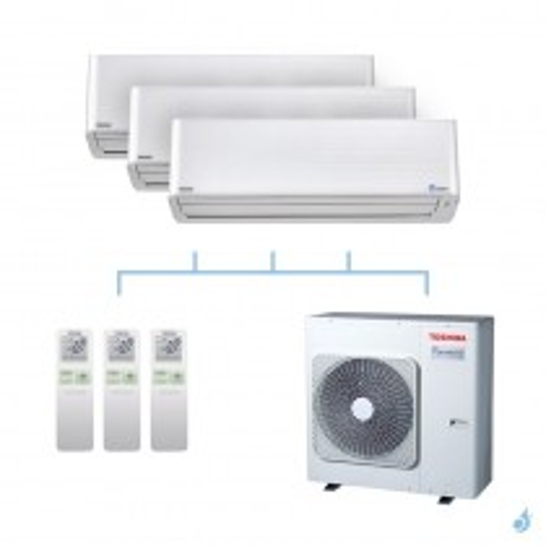 TOSHIBA climatisation tri split mural gaz R32 Super Daiseikai 9 7,5kW RAS-M10PKVPG-E x2 + RAS-M16PKVPG-E + RAS-3M26U2AVG-E A++