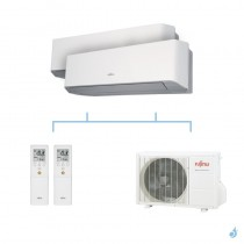 FUJITSU climatisation bi split mural gaz R410A LMCE 5kW ASYG7LMCE + ASYG7LMCE + AOYG18LAC2 A++