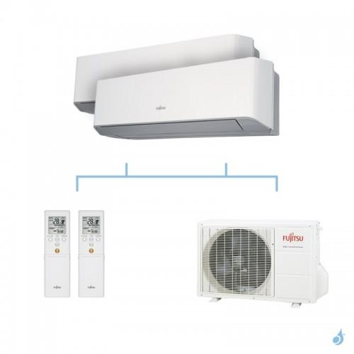 FUJITSU climatisation bi split mural gaz R410A LMCE 5kW ASYG7LMCE + ASYG12LMCE + AOYG18LAC2 A++