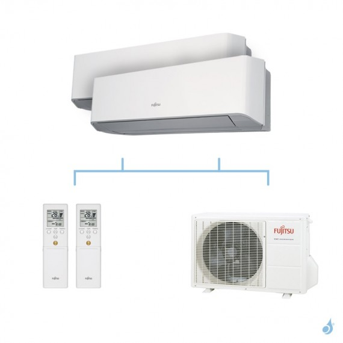 FUJITSU climatisation bi split mural gaz R410A LMCE 5kW ASYG9LMCE + ASYG9LMCE + AOYG18LAC2 A++