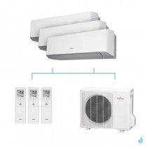 FUJITSU climatisation tri split mural gaz R410A LMCE 6,8kW ASYG7LMCE + ASYG7LMCE + ASYG7LMCE + AOYG24LAT3 A++