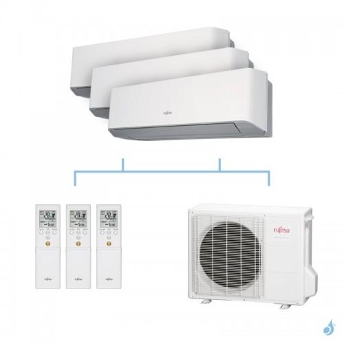 FUJITSU climatisation tri split mural gaz R410A LMCE 6,8kW ASYG7LMCE + ASYG9LMCE + ASYG18LFCA + AOYG24LAT3 A++