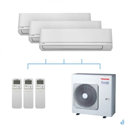 TOSHIBA climatisation tri split mural R32 Shorai 7,5kW RAS-M05PKVSG-E + RAS-M07PKVSG-E + RAS-B24PKVSG-E + RAS-3M26U2AVG-E A++