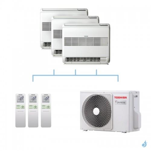 TOSHIBA climatisation tri split console gaz R32 U2FVG 2,5 + 2,5 + 2,5kW + RAS-3M18U2AVG-E 5,2kW A++