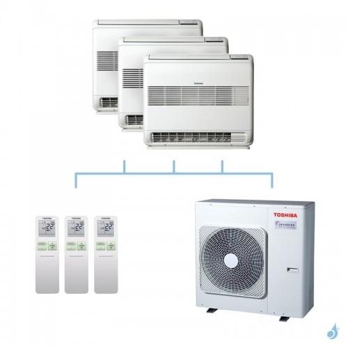 TOSHIBA climatisation tri split console gaz R32 U2FVG 2,5 + 2,5 + 2,5kW + RAS-3M26U2AVG-E 7,5kW A++