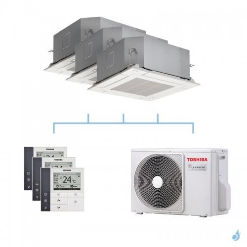 TOSHIBA climatisation tri split cassette 4 voies gaz R32 2,5 + 2,5 + 3,5kW + RAS-3M18U2AVG-E 5,2kW A++