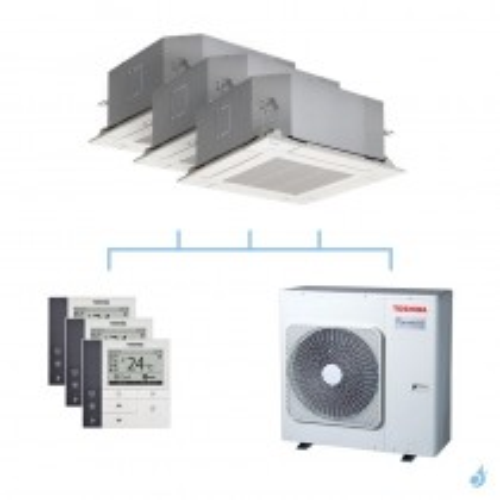 TOSHIBA climatisation tri split cassette 4 voies gaz R32 2,5 + 3,5 + 4,5kW + RAS-3M26U2AVG-E 7,5kW A++