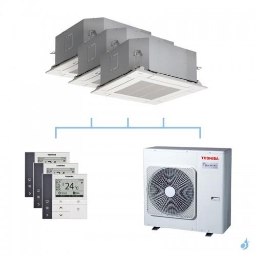 TOSHIBA climatisation tri split cassette 4 voies gaz R32 2,5 + 3,5 + 4,5kW + RAS-4M27U2AVG-E 8kW A++