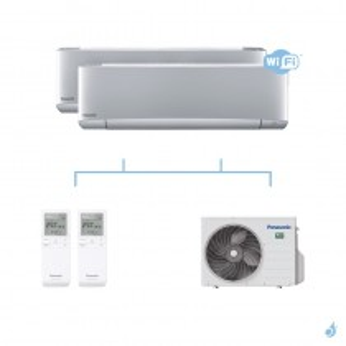 PANASONIC climatisation bi split mural Etherea Z Gris gaz R32 WiFi CS-XZ20VKEW + CS-XZ25VKEW + CU-2Z50TBE 5kW A+++