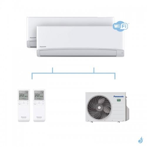 PANASONIC climatisation bi split mural Ultra Compact TZ gaz R32 WiFi CS-TZ25WKEW + CS-TZ35WKEW + CU-2Z41TBE 4kW A+++