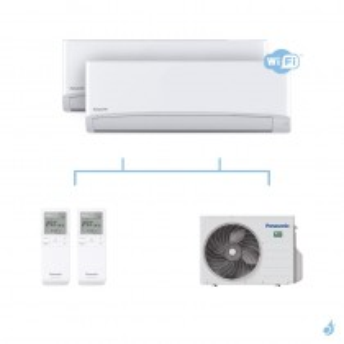 PANASONIC climatisation bi split mural Ultra Compact TZ gaz R32 WiFi CS-TZ20WKEW + CS-TZ42WKEW + CU-2Z50TBE 5kW A+++