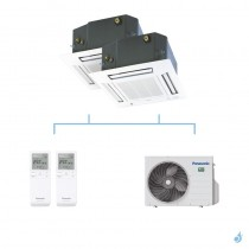 PANASONIC climatisation bi split cassette 4 voies 60x60 UB4 gaz R32 CS-MZ20UB4EA + CS-Z25UB4EAW + CU-2Z50TBE 5kW A+++