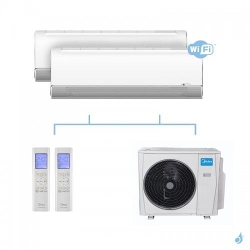 MIDEA climatisation bi split murale Breezeless gaz R32 WiFi MSFAAU-09HRFN8 + MSFAAU-09HRFN8 + M20G-14HFN8-Q 4,1kW A++