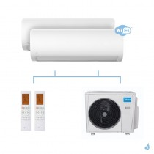 MIDEA climatisation bi split murale X TREM SAVE gaz R32 WiFi MSAGBU-12HRFN8 + MSAGBU-12HRFN8 + M40B-36HFN8-Q 10,55kW A++