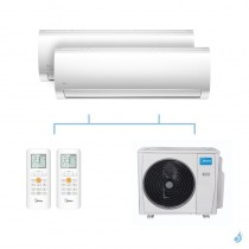 MIDEA climatisation bi split murale Blanc gaz R32 MSMABU-09HRDN8 + MSMABU-09HRDN8 + M20G-14HFN8-Q 4,1kW A++